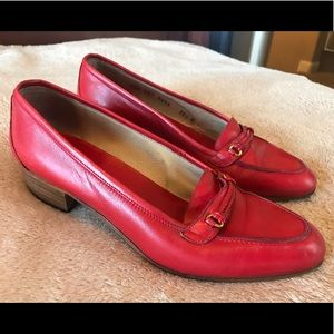Gucci Shoes - Vintage Red Gucci Loafers Shoes Size 9
